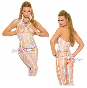 5fd13937f78 Image is loading SEXY-White-CUPLESS-CROCHET-NET-Bodystocking-HALTER -Crotchless-