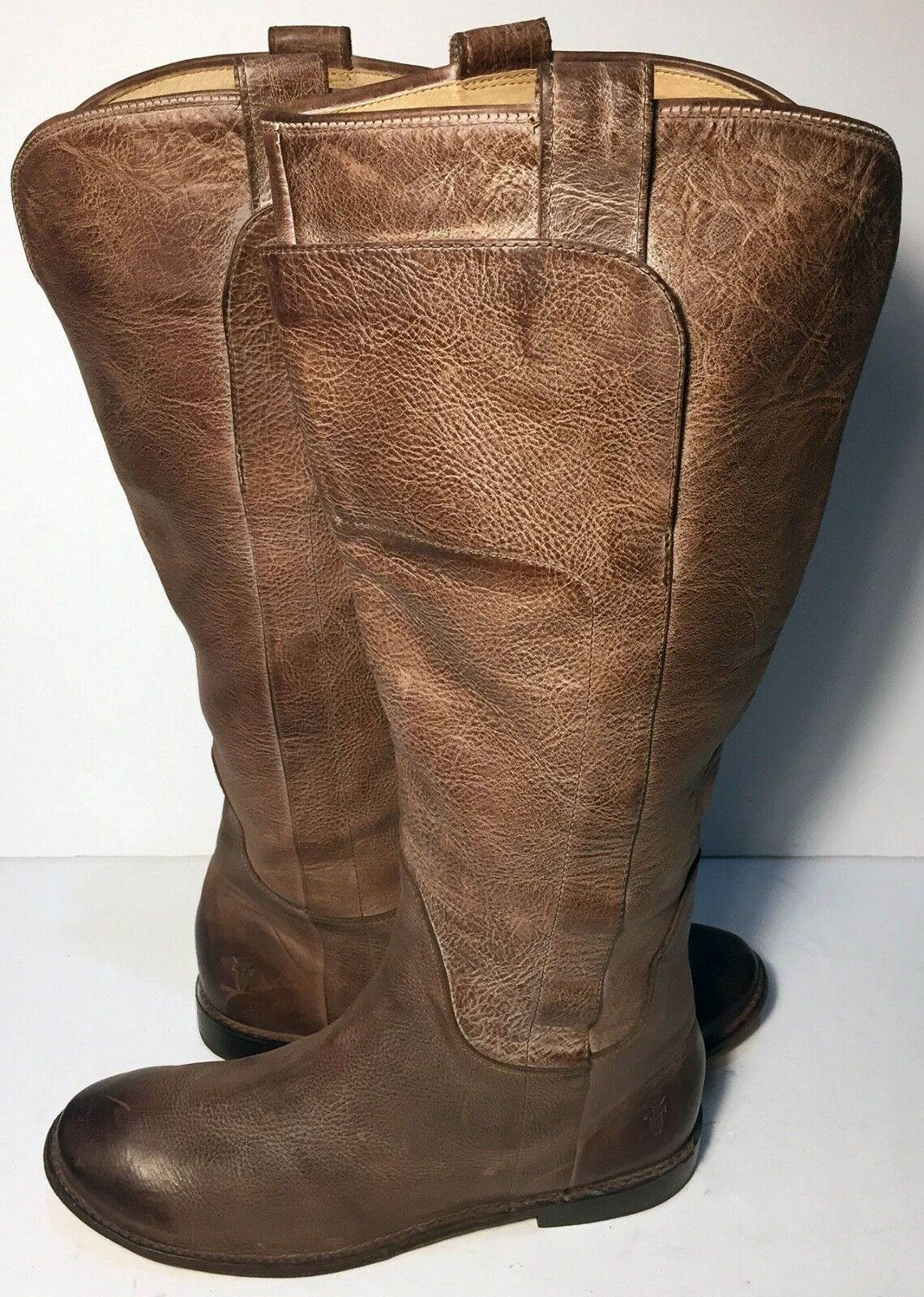Frye 77534 Paige Tall Riding Brown Leather Motorcycle Boots Women's Size 9.5
