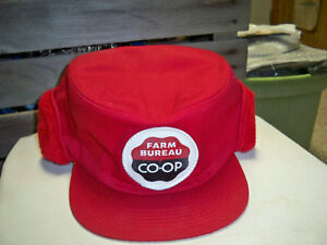 Farm bureau co op winter red hat size medium to large made in usa ebay