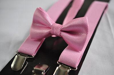 BOYS Girl KIDS Pink Braces Elastic Suspenders Bowtie Bow Tie 1-8 Years Old