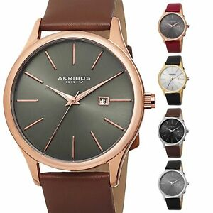 'Men's Akribos XXIV AK618 Quartz Sunray Dial Date Genuine Leather Strap Watch' from the web at 'https://i.ebayimg.com/images/g/eWAAAOSwvfZaDxZT/s-l300.jpg'