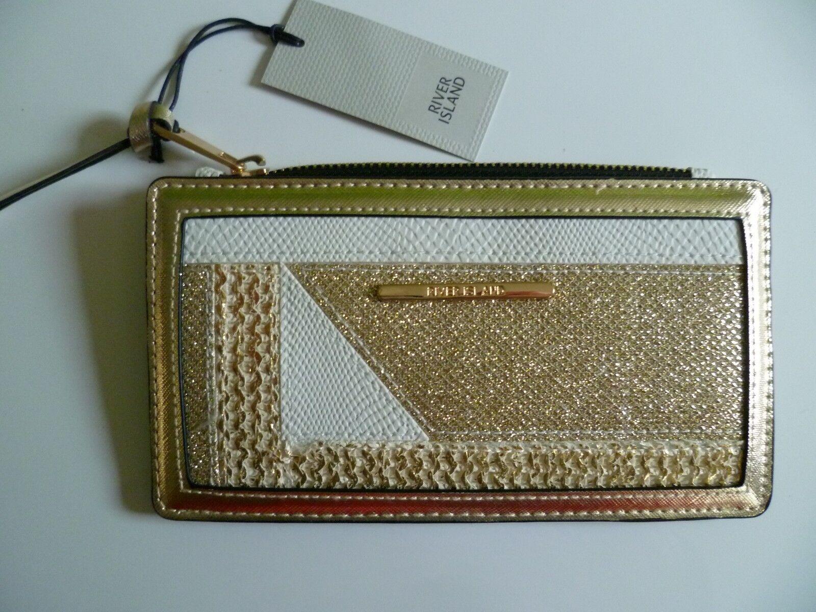 River Island Ivory Gold Clutch Bag Purse Cards Notes Lipstick etc BNWT