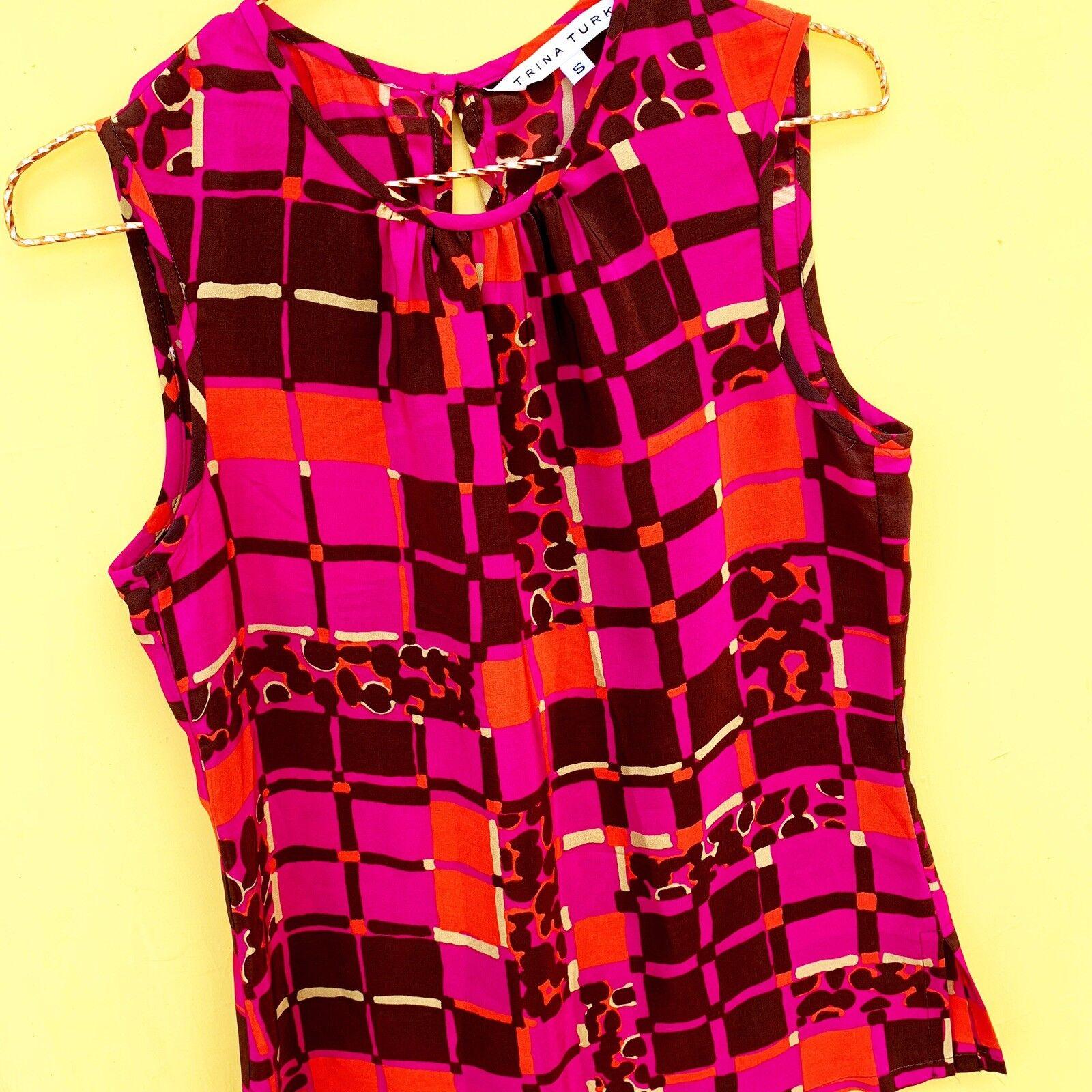 TRINA TURK silk sleeveless top blouse S abstract geometric print
