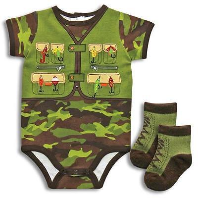 Baby Boy Clothes : Fishing Vest FISHERMAN Boy Shirt Bodysuit & Socks NWT 3 6 9 M