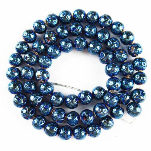 "6mm Blue Titanium Crystal Agate Druzy Quartz Geode Loose Bead 15.5 /"" A-590TZ"