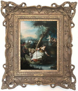 The-Shepherdess-Antique-Old-Master-Oil-Painting-18th-Century-German-School