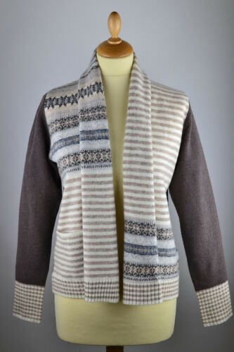 S Womens 135 Brown Scialle lana Fair Eribe di M Rrp Cardigan 12 Collar Isle Woolen wP56ZWxdqE