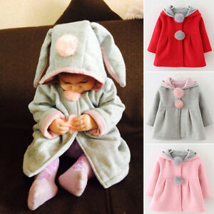fe5d02a091d2 Kids Baby Girl Bunny Hooded Coat Jacket Rabbit Ear Autumn Winter ...