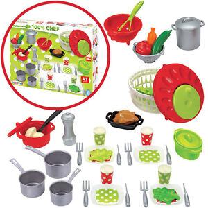 Das Bild Wird Geladen Ecoiffier 47 Teiliges Kuechenzubehoer Toepfe  Geschirr Spielzeug Kinderkueche