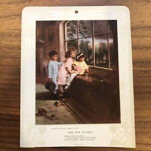 Rare Early 1900s Advertising Calendar Card with Poem James Arthur CHILDREN DOLL