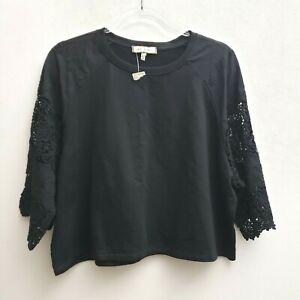 Eri-Ali-Black-Black-Crop-Top-Size-Large-Petite-3-4-Sleeve-Crochet-Lace-Boho