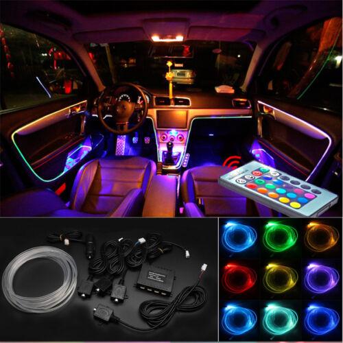 Colorful 4x LED Car Door Dash Interior Decoration Light Strip 4m Optic Fiber