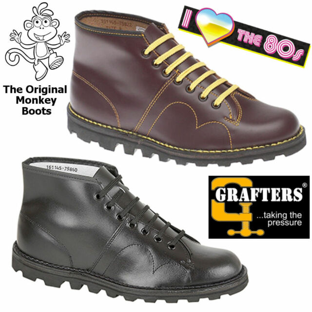 505cefcb551 The Original Monkey Boots Grafters Mens Womens Unisex Retro 80s Leather  Shoes