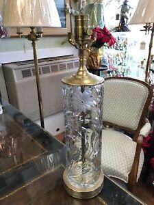 Details About Antique Cut Crystal Cornflower Design Table Lamp