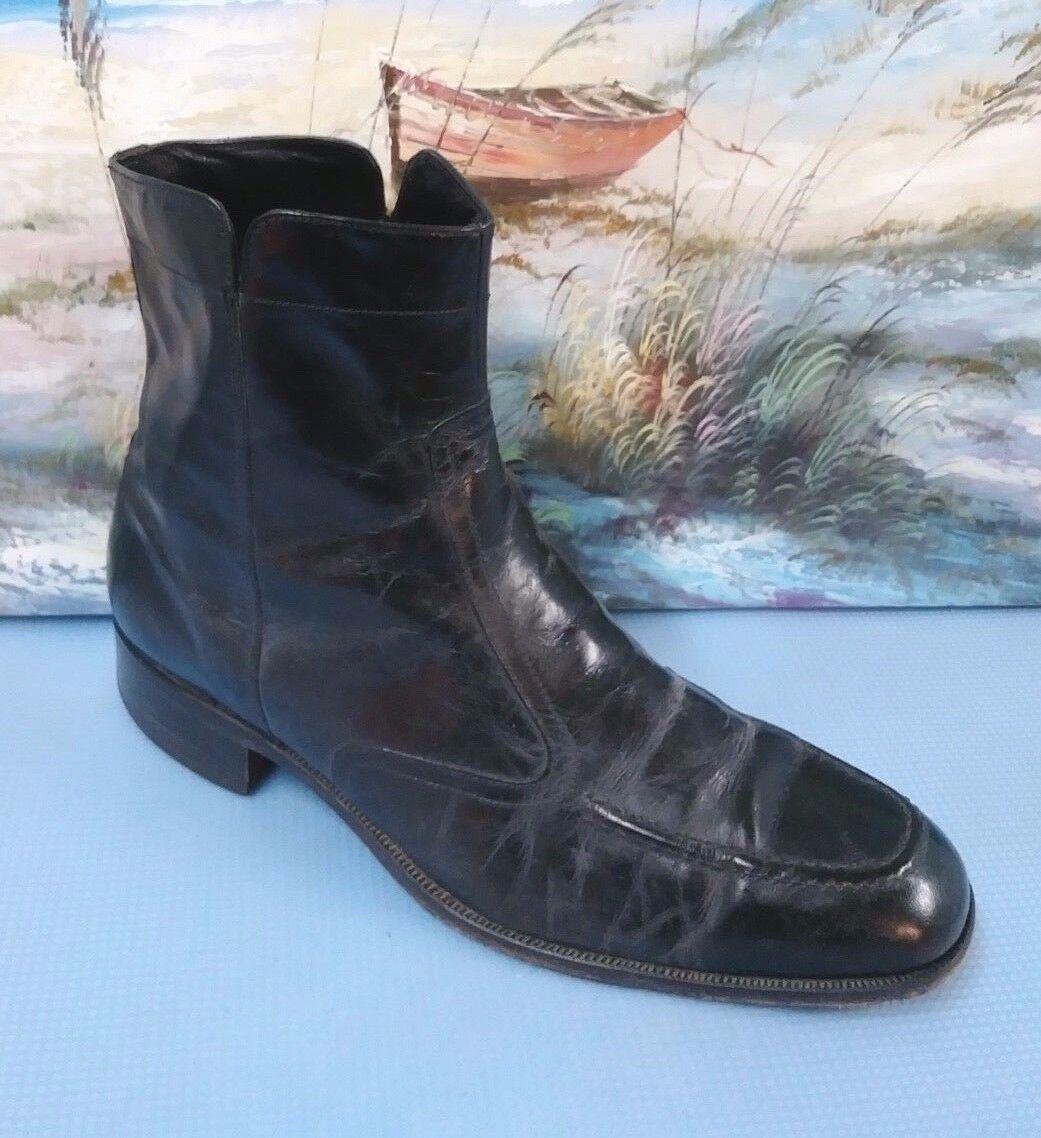 Florsheim Black Zip Ankle Leather Boots 20546 SIZE 10.5 D