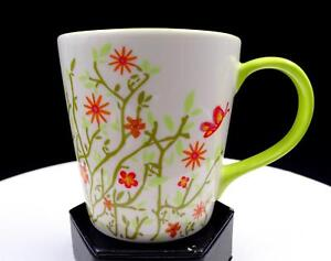 STARBUCKS-GREEN-SPRING-TIME-FLOWERS-AND-BUTTERFLIES-3-034-COLLECTOR-CUP-MUG-2006