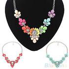 Womens Boho Flowers Crystal Bib Statement Fashion Necklace Pendant Collar Chain