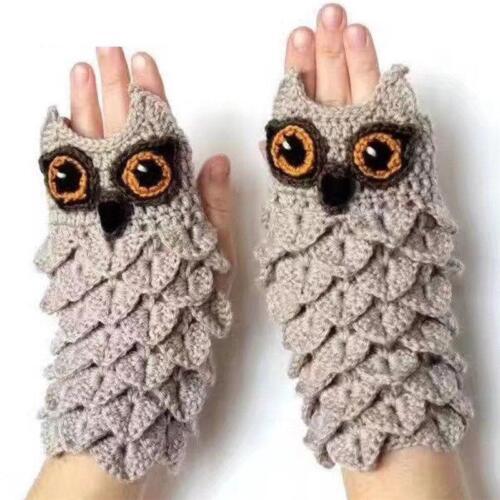 Mittens Fall Winter Hand Warmers Owl Shape Gloves Women Girl Mittens Gloves *