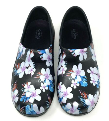 Details about  /Crocs Neria Pro II Work Clogs Womens 7 Black//Tropical NEW