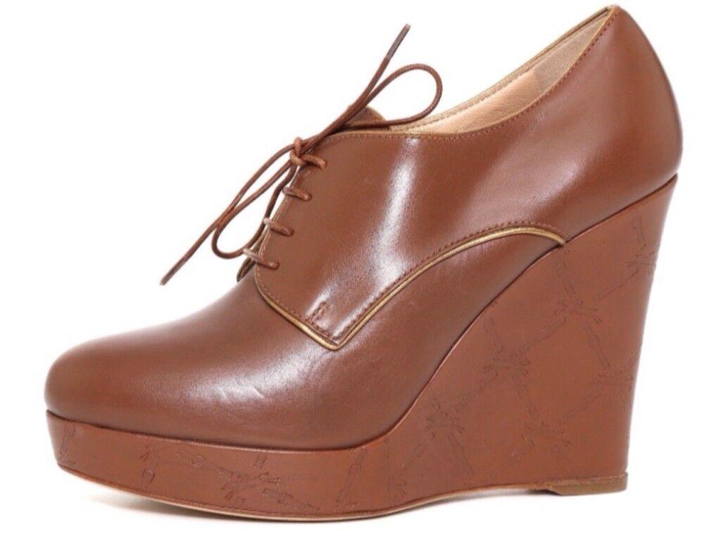 Longchamp Paris Leather Platform Wedge Booties, Brown, Size MSRP $585.