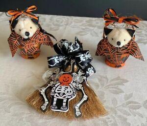 Set-Of-3-Halloween-Handmade-Teddy-Bears-Witch-s-Broom-Skeleton