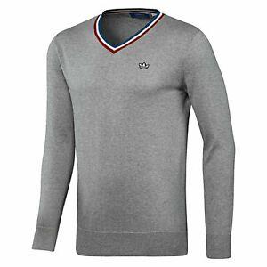 Adidas-Originals-Hombre-Premium-tejido-de-cuello-en-v-sueter-Jumper-Trebol-Raro-DEADSTOCK