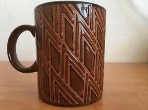 Gibson-Mug-Embossed-Coffee-Cup-Triangle-Pattern-Brown-Everyday-Mugs-Rare