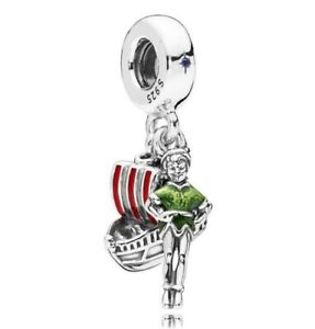 925-Sterling-Silver-Disne-Park-Peter-Pan-And-Flying-Ship-Charm-Dangle