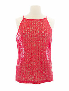 47602d9d0a3dbf TOPSHOP Women s Coral Red Sheer Fishnet High Neck Sleeveless Top ...