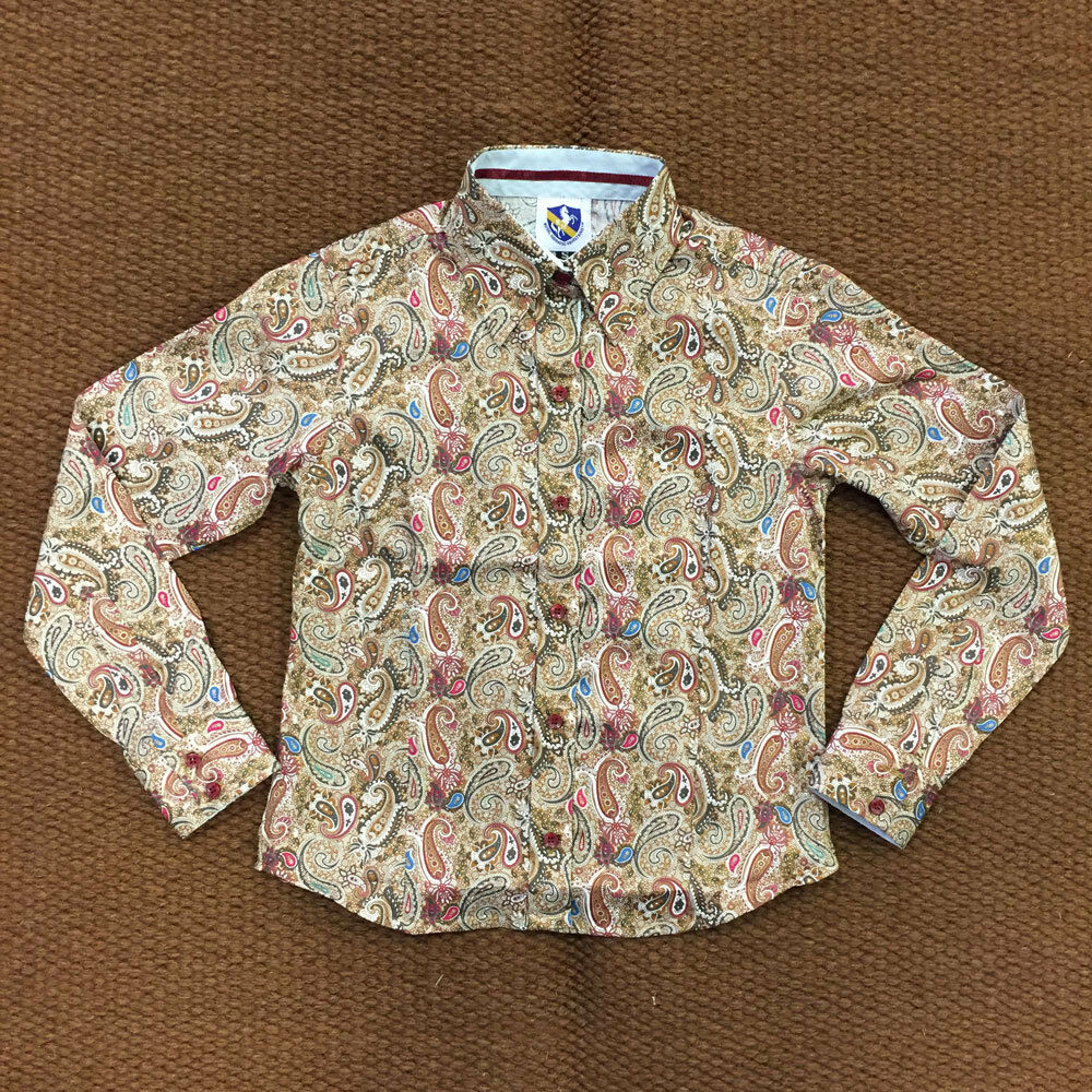 38232 Royal Highness Girls Girls Highness Braun Paisley Button Down Western Show Top NEW 41a9ea