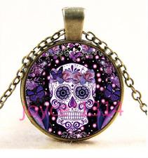 Sugar Flower Skull Cabochon bronze Glass Chain Pendant NecklaceTS-3444