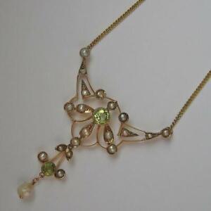 Collier-mit-Perlen-und-Peridot-Jugendstil-in-aus-14-Kt-585-Gold-Kette