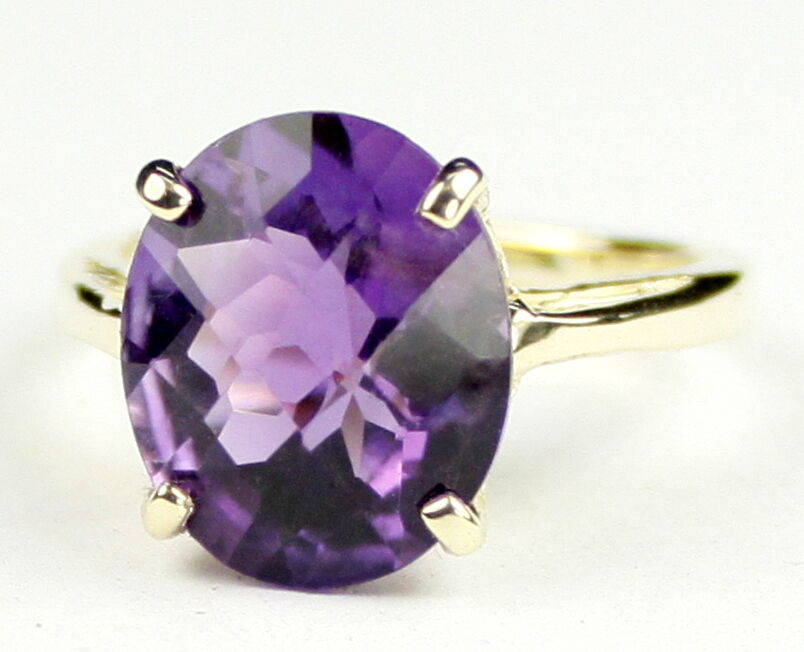 Amethyst, Solid 10KY or 14KY  gold Ladies Ring, R055-Handmade