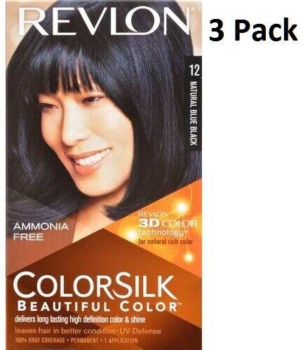 3 x REVLON Colorsilk Amoníaco Gratis Color para Cabello Permanente (12 Natural Azul Negro)