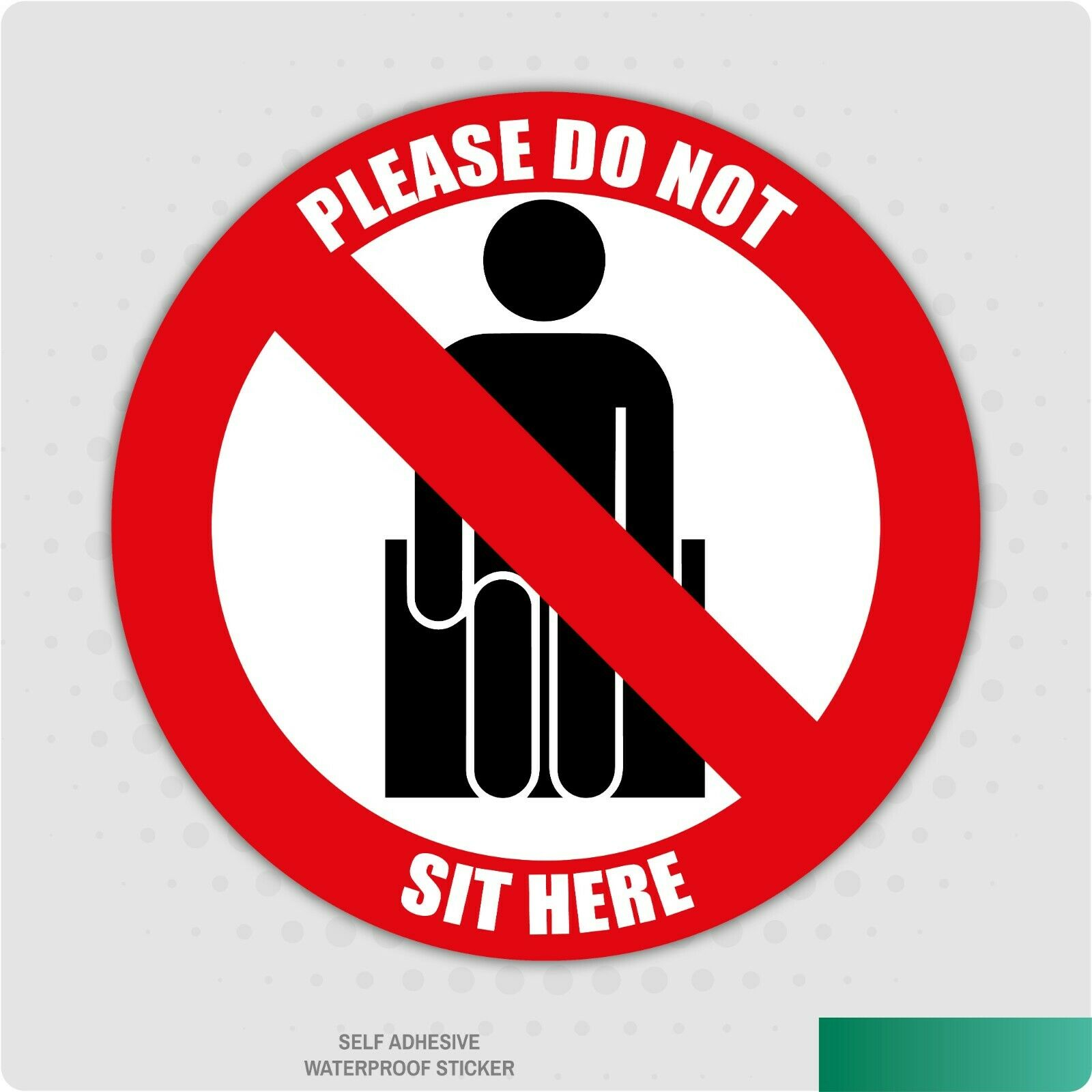 12 x Social Distancing Seat Stickers Please Do Not Sit Here 65mm Self Adhesive