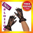 AS105 Short Stretch Black Fingerless Lace Gloves Lingerie Burlesque Costume