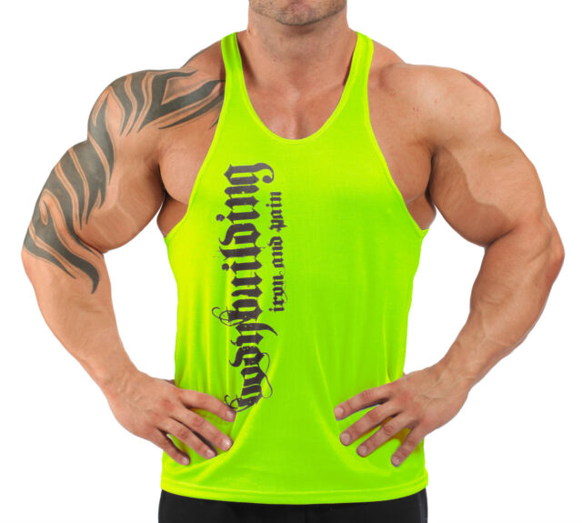 IRON & PAIN T-BACK BODYBUILDING VEST WORKOUT GYM CLOTHING - LIME GREEN H-94