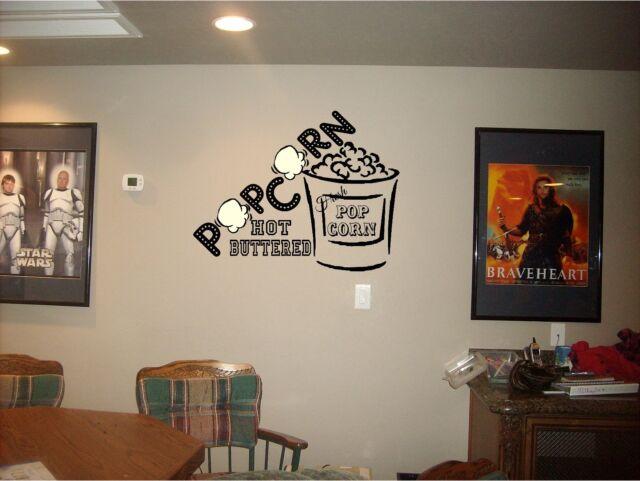 Popcorn Wall Art Movie Cinema Theater Room mural graphic decor ...