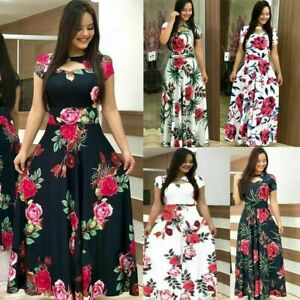 Women-Long-Canonicals-Short-Sleeve-Party-Floral-Sexy-Fashion-Maxi-Dress-Summer