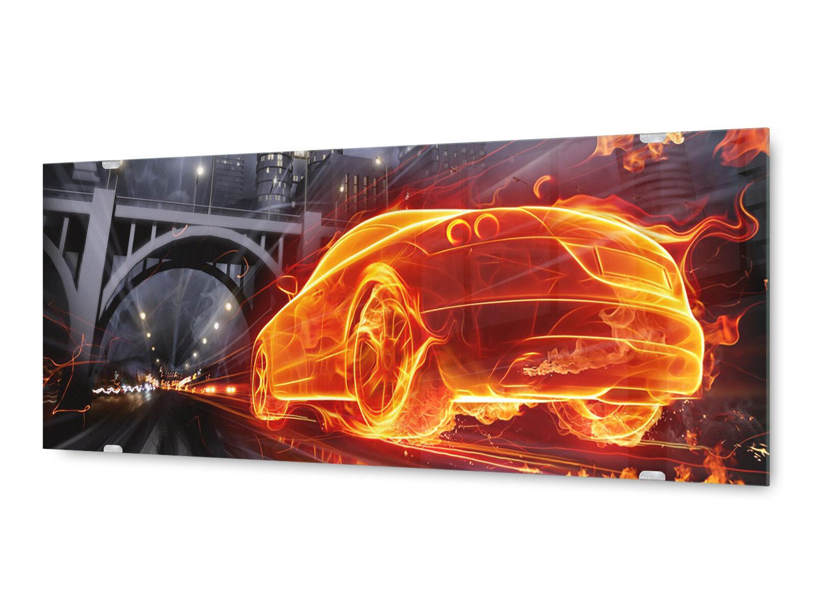 Glasbild Wandbild GLX12511301793 Feuer Auto 125 x 50cm