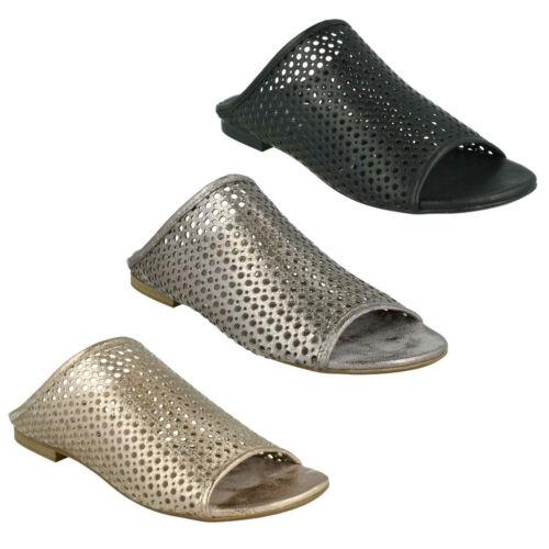 f00012 Damen Savannah Peeptoe ohne Bügel flache Maultier Sommer Sandalen