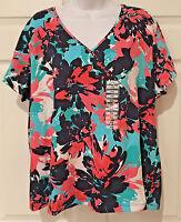 Ruby Rd V-neck Short Sleeve Mock Wrap Embellish Knit Top Navy Blue Multi Xxl