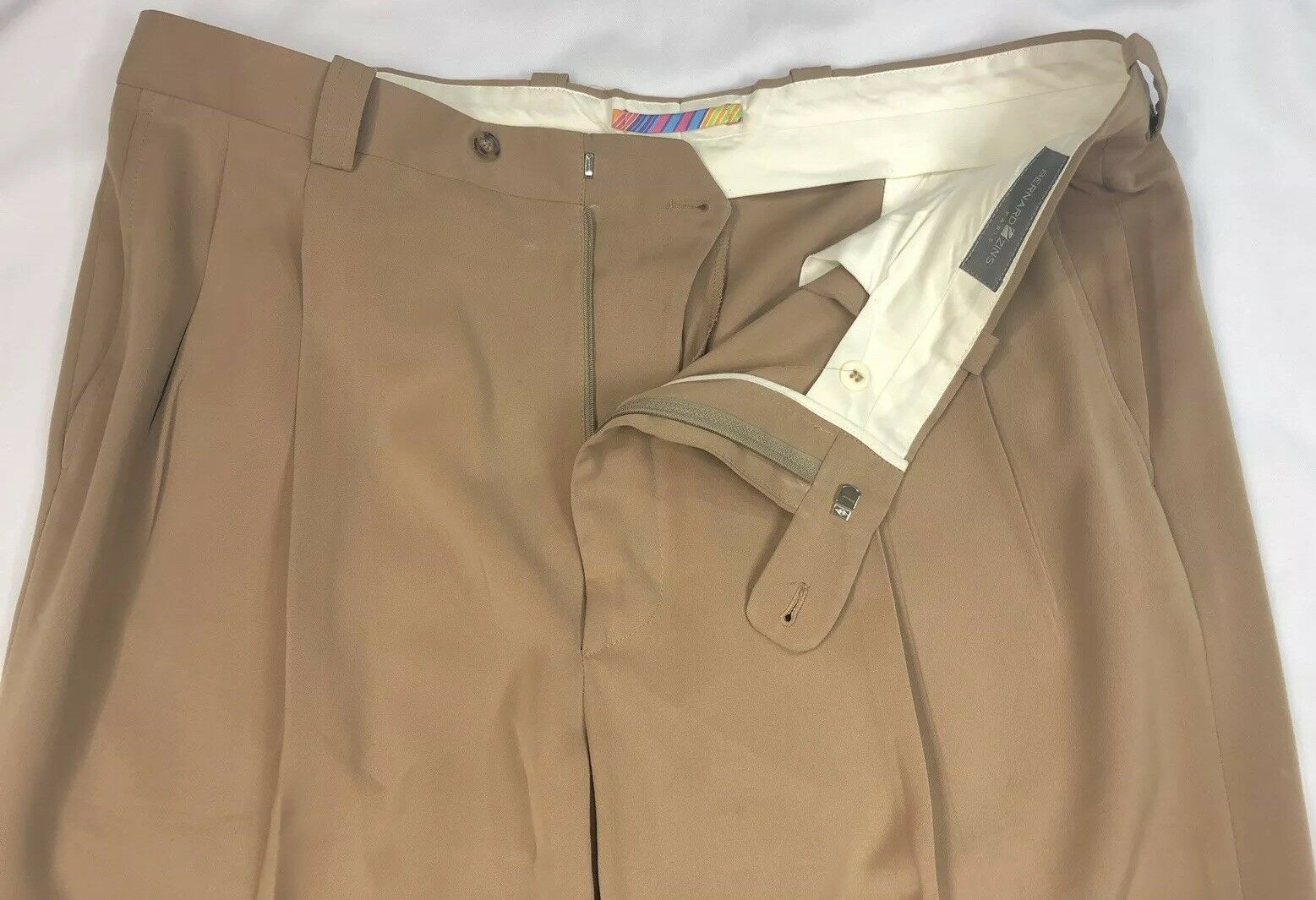 Bernard Zins Paris Pleat Front Men Tan Khaki Le Kenny Dress Pants Sz 40 France