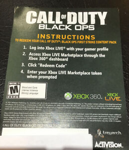 Xbox 360 One Cod Black Ops First Strike Token Content Dlc Code