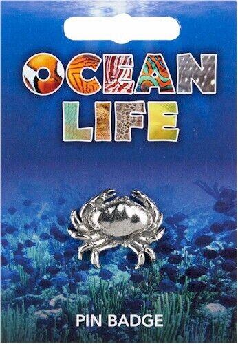 Crab Silver Pewter Lapel Pin Badge