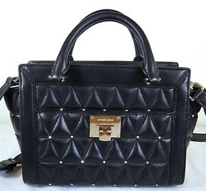 0699bc865e Image is loading Michael-Michael-Kors-Vivianne-Black-Quilted-Stud-Leather-