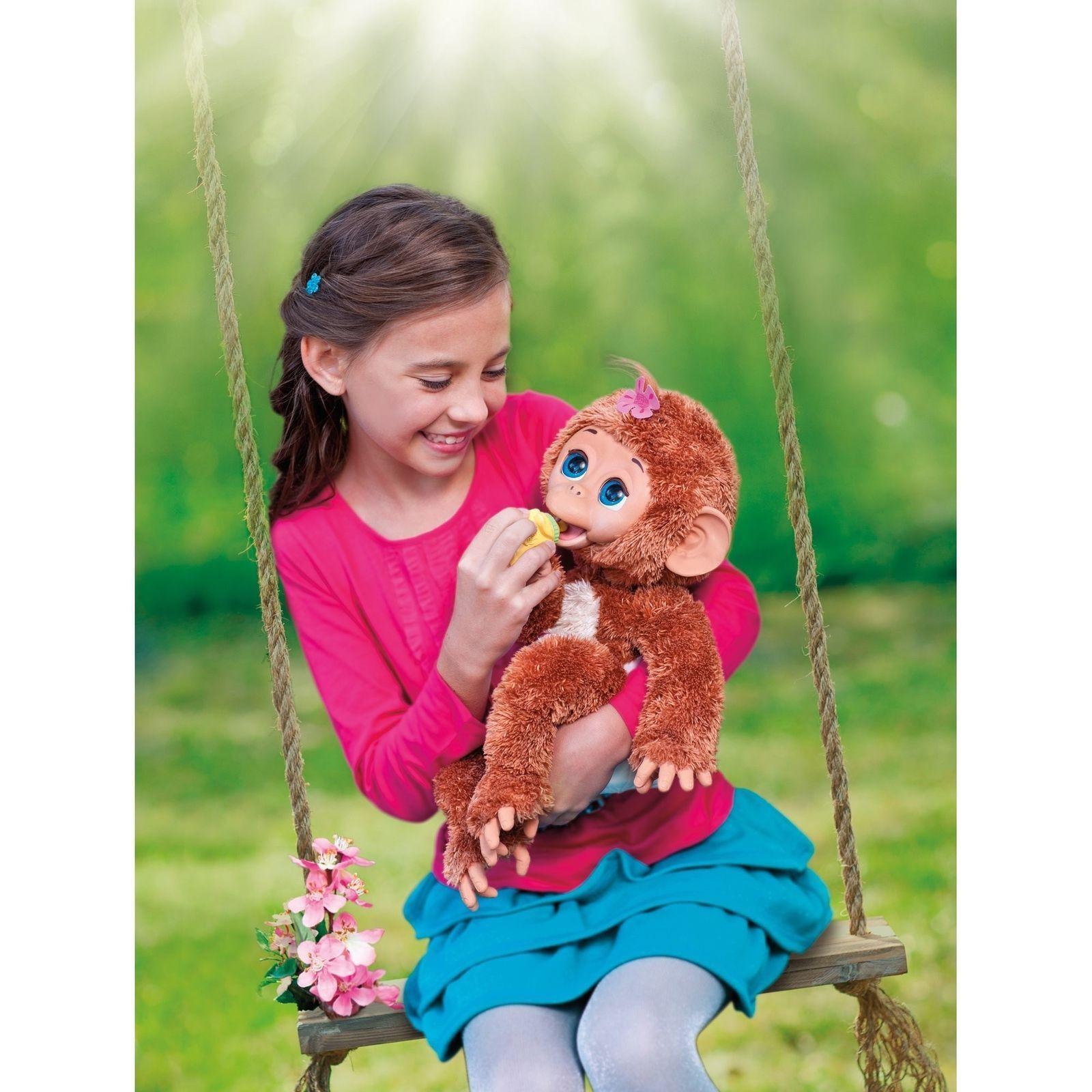 New Plush leksaker Cuddles My Giggly Monkey Pet Closing Eyes Realistic Sounds Big Sz