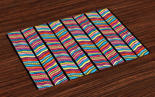 Retro Fabric Placemats Set of 4 by Ambesonne Washable Fabric Place Mats