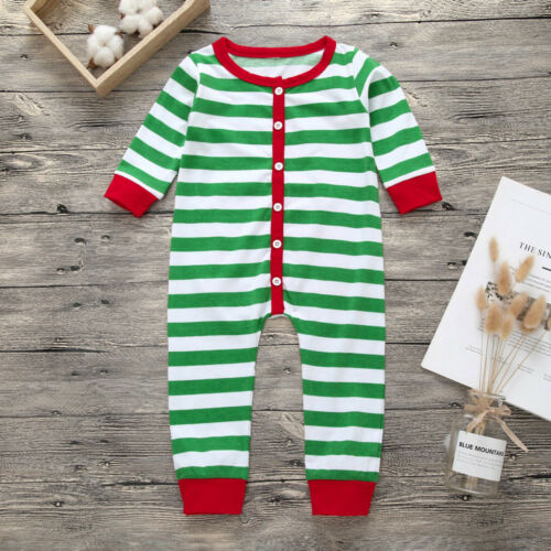 Christmas Newborn Toddler Baby Girl Boy Striped Romper Jumpsuit Clothes Outfit K