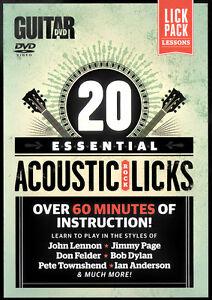 Details about 20 Essential Beginners ACOUSTIC ROCK BLUES LICKS Guitar  Lessons Video DVD + PDF